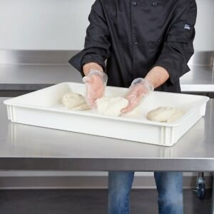 Pizza Dough Proofing Boxes Pizzeria Bakery White Durable Polycarbonate 6 Pack