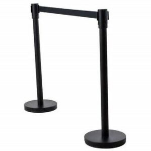 2 Pcs New Retractable Stanchions Crowd Control Black Belt Posts Queue Barrier