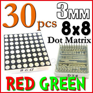 30 Dot Matrix Led 3mm 8x8 Red Green Common Anode 24 Pin 64 Led Displays Module
