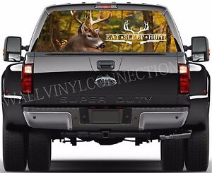 Hunting Pick Up Truck Perforated Rear Windows Graphic Decal Decal