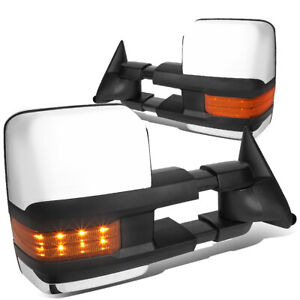 Fit 1988 2000 Chevy gmc C k Powered Black Side Tow Mirror amber Led Turn Signal