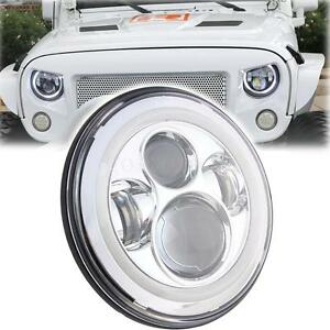7 Chrome Hi Lo Led Round Projector Head Halo Angel Eye Light For Jeep Tj Jk