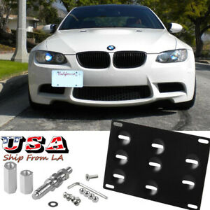 Front Bumper Tow Hook License Plate Mounting Bracket Holder For Bmw E90 E91 E92