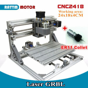 3 Axis 2418 Diy Mini Cnc Laser Mill Machine Router Grbl Control er11 Collet Kit