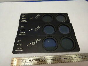 Lot 3 Ea Polarizer Slide Leitz 513575 German Microscope Part Optics As Is