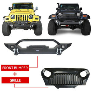 Front Bumper Guard led Lights gladiator Mesh Grille For Jeep Wrangler Tj 97 06