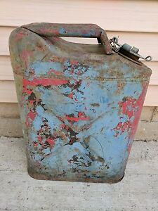 Vintage Us Military Blue Metal Jerry Gas Cans 5 Gallon Willys Jeep