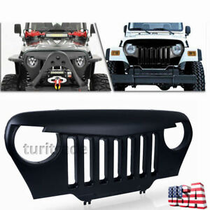 Front Matte Black Mean Angry Bird Grille Grill For Jeep Wrangler Tj 97 06 Us