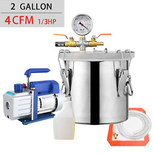 2 Gallon Vacuum Chamber And 4 Cfm Single Stage Pump Degassing Silicon
