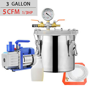 3 Gallon Vacuum Chamber And 5 Cfm Single Stage Pump Degassing Silicone Kit