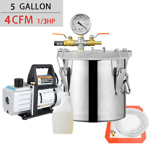 5 Gallon Vacuum Chamber And 4 Cfm Single Stage Pump Degassing Silicone Kit Black