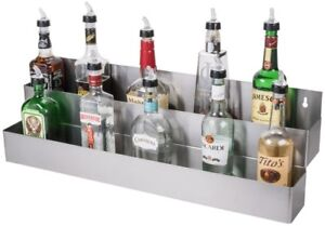 Double Tier Stainless Steel Speed Rail Liquor Bottle Display Storage Rack 32