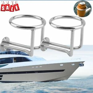 2pcs set Practical Stainless Steel Car Boat Cup Drink Holder For Marine Yacht As