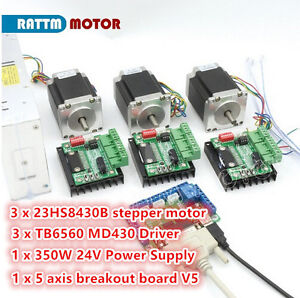 3 Axis Nema23 76mm Stepper Motor 270oz in Dual Shaft md430 Driver Controller Kit