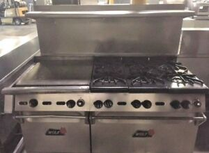 60 Wolf 6 Open Burner Range W 24 Flat Griddle 2 Two Ovens Grill Commercial