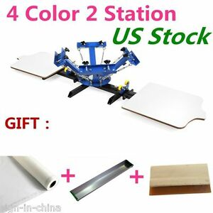 4 Color 2 Station Silk Screen Printing Machine 4 2 Diy T shirt Press Printing