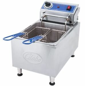 Globe 10 Lb Stainless Steel Counter Top Commercial Electric Fryer Model Pf10e
