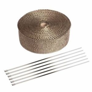 Exhaust Manifolds Titanium Heat Wrap Tape Thermal Wrap Black 2 X 5m 6 Ties