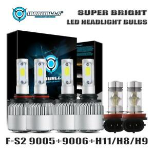 Combo 9005 9006 h11 Led Headlight Hi lo Bulbs Fog Light Kit 4500w 675000lm 6000k