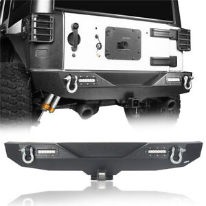 07 17 Jeep Wrangler Jk Textured Black Rear Bumper W Hitch Receiver