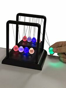 Newtons Multi color Light Up Cradle W Led Glass Balls And Mirror For Desktops