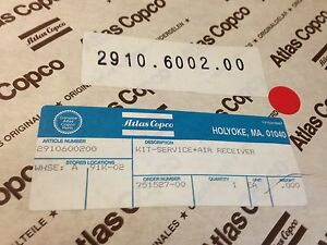 Atlas Copco Air Compressor Air Receiver Service Kit 2910 6002 00