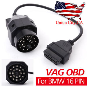 New 20pin Obd1 To 16pin Obd2 Adapter Diagnostic Cable Connector Male For Bmw Vag