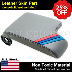 Fits 99 04 Bmw E46 Gray Leather Console Lid Armrest Cover M3 M Tech Sport Stripe