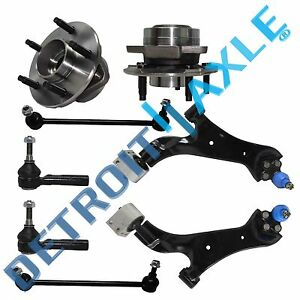 02 07 Saturn Vue 8pc Lower Control Arm Tie Rod Wheel Bearing Kit Non Abs