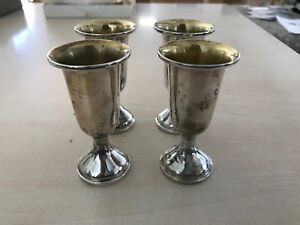 Vintage Web Sterling Silver Small Goblet Shot Cup Set 4 Barware Gift