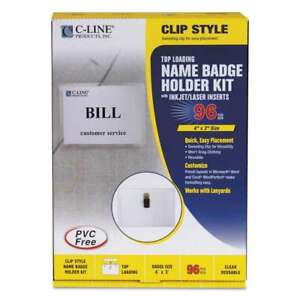 C line Name Badge Kits Top Load 4 X 3 Clear Clip Style 96 b 038944955964
