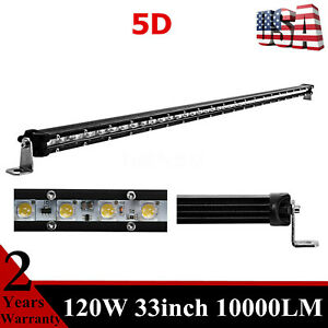 33 Inch Cree Slim Single Row 120w Led Light Bar 5d Lens Driving 4wd Offroad 35