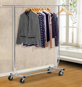 New Commercial Grade Collapsible Clothing Rolling Double Garment Rack Hanger As
