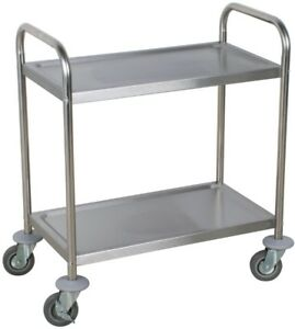 Stainless Steel 2 Shelf Rolling Commercial Utility Cart Mobile Kitchen Storage