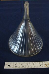 Vintage Large Glass Funnel Apothecary Pharmacy Industrial Lab Ribbed