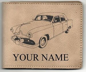1951 Frazer Sedan Leather Billfold With Drawing And Your Name On It Nice Quality
