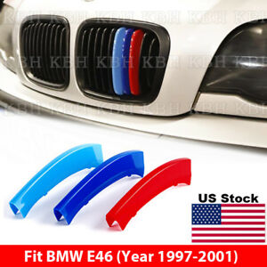 M Color Kidney Grille Grill Cover Decal Stripe Clips Bmw 3 Series E46 1997 2001