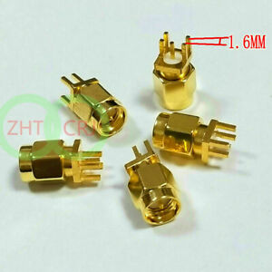 100 Pcs Gold Brass Sma Male Plug Solder For Pcb Clip Edge Mount Rf Connectors