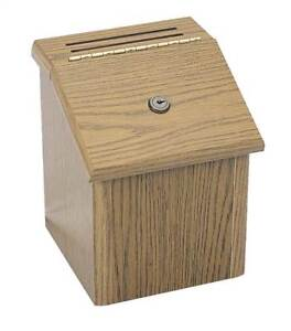 Wood Locking Suggestion Box In Medium Oak Finish id 37006