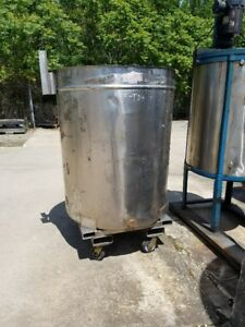 Used 225 226 Gallon Portable Stainless Steel Mix Tank W 1 Side Bottom Outlet