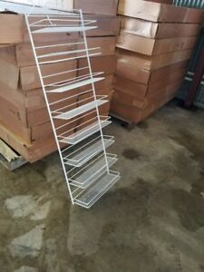 Commercial Display Racks White Coated Wire Heavy Duty