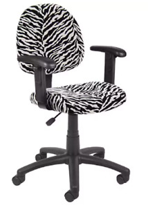 Office Seating Computer Area Lumbar Wheeled Task Chair Black White Zebra Pattern