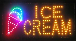 Led Neon Light Ice Cream Sign Store Shop Hanging Door Display Scrolling Outdoor