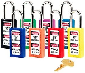 8 Master Lock Lockout Padlocks 411ast 3 h X 1 1 2 w X 1 1 2 h Shackle Clearance