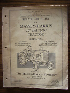 Massey Harris 20 20k Parts Manual