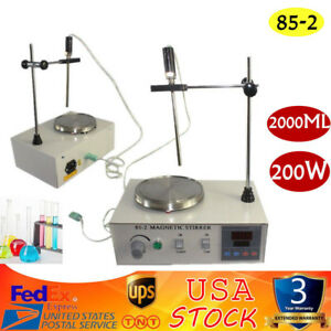Magnetic Stirrer Mixer Stirring Machine Thermostatic Heating Hot Plate 2000ml Us
