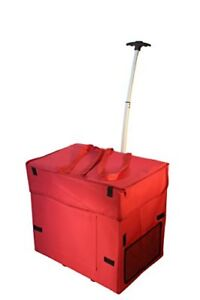Wide Load Smart Cart Red Rolling Multipurpose Collapsible Basket Cart New