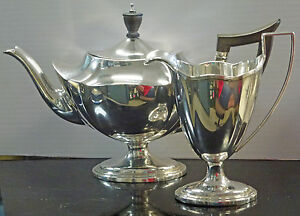 Bjstamps Gorham Sterling Silver Tea Pot Creamer Set 2442 Plymouth 27 55 T Oz