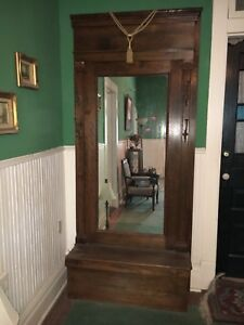 Vintage Antique Wood Hall Tree With Bench