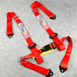 Universal 4 point Jdm Car Auto Racing Sport Seat Belt Safety Harness Strap Red